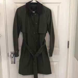 J. Crew army green belted trench coat